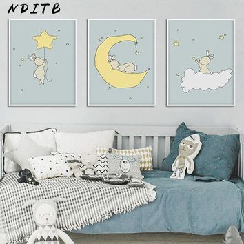 NDITB Cartoon Bunny Moon Canvas Nursery Posters and Prints Wall Art Painting Nordic Kids Decoration Pictures Baby Bedoom Decor