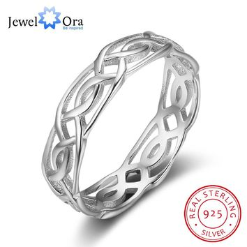 100% 925 Sterling Silver Rings For Women Weaving Vintage Rings Romantic Gift to Lovers(JewelOra RI102824)