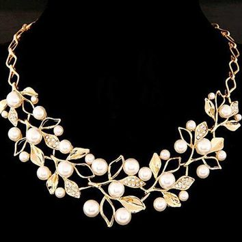 Simulated Pearl Necklaces & Pendants Gold Leaves Statement Necklace Women Collares Ethnic Jewelry for Personalized Gifts