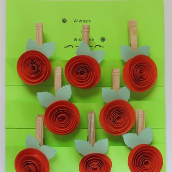 8 Dark Orange paper rose clothespin magnets, kitchen bag clips, handmade to order, hostess gift idea, party favors, bridal shower, wedding