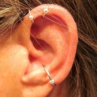 "2 No Piercing ""Captive Ball"" Helix Ear Cuffs & 1 Captive Ball Conch Cuff Handmade 3 Cuffs Silver Tone or 17 Color Choices"