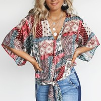 Embrace It Fuchsia Boho Shimmer Front Tie V-Neck Top