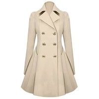 Hee Grand Women OL Slim Double-Breasted Trench Coat Pleated Outwear Overcoat
