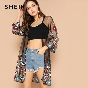 SHEIN Multicolor Flower Embroidery Mesh Sheer Boho Longline Kimono Cardigan Women Summer Long Sleeve Beach Vacation Sexy Kimonos