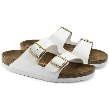 Hot Sale Arizona Birko-Flor Patent Summer Fashion Leather Beach Lovers Slippers Casual Sandals For Women Men Couples Slippers color White size 36-45