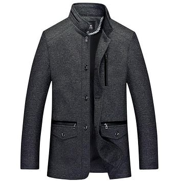 Winter Jacket Men Thickening Wool Coat Slim Fit Jackets Fashion Outerwear Warm Man Casual Jacket Overcoat Pea Coat High Quality