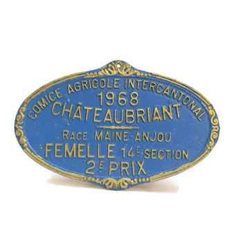 French Award Medal. Vintage Livestock Prize. Vintage Agricultural French Metal Sign. Trophy Plaque.