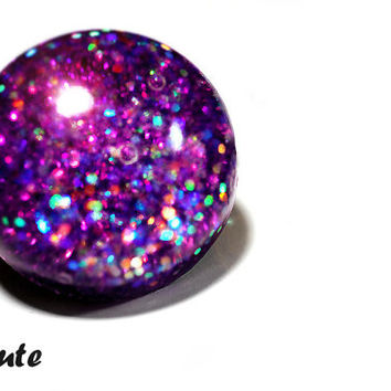 Resin Jewelry, Purple Glitter Ring, Sparklly Resin Out of this World Giant Dome, Bubble Orb Ring - Handmade Resin Fashion Ring by isewcute