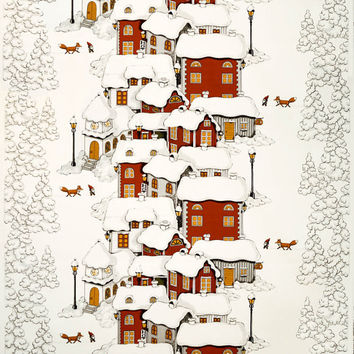 Tablecloth white grey Christmas tree red Houses Elfs foxes ,also napkins , table runner , curtains , pillows available, great GIFT