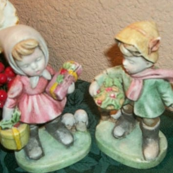 Vintage Christmas Figurines Hummel Style Children Boy Girl Hand Painted Pastel Ceramic Bisque Mid-Century Collectible Home Decor