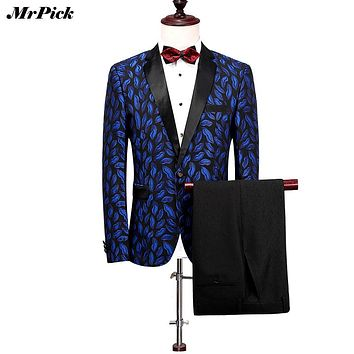 Men's Two-Piece Blue & Black Leaf Printed Suit