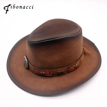 310cbf43 Fibonacci New Top Quality Fashion Faux Leather Cowboy Hat Metal Decoration  Wide Brim Western Men Cowgirl