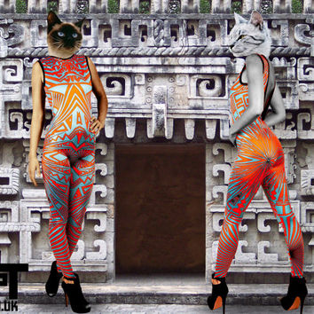 Geometric catsuit, psychedelic Onesuit, optical playsuit, pattern bodysuits, yoga clothing, colourful jumpsuits, Festival clothing, AllInOne