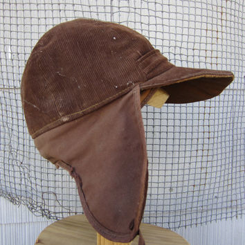40s Brown Corduroy Fudd Hat // Vintage Winter Hunting Cap