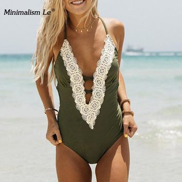 Minimalism Le One Piece Sexy Swimwear Lace Patchwork Swimsuit Deep V Bathing Suit Women Swimming Suit Backless Beach Wear