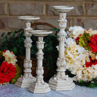 Shabby chic home decor: Set of 3 ornate vintage white hand-painted scroll pillar candle holders for decorative candlescape centerpiece
