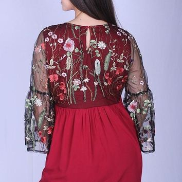 Floral Embroidered Lace Plus Top