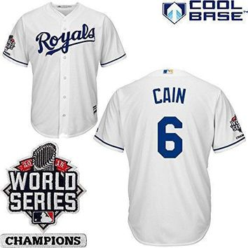 Lorenzo Cain Kansas City Royals #6 Mlb Men's Cool Base 2015 World Series Champions Patch Home Jersey (small)