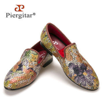 New style Painting style Mix colors men loafers style smoking slipper fashion men's casual shoes men's flats