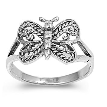Sterling Silver Butterfly Dharma 9MM Petite Rings