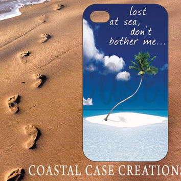 Apple iPhone 4 4G 4S 5G Hard Plastic or Rubber Cell Phone Case Original Trendy Stylish Beach Island Palm Tree Sand Ocean Sea Quote Design