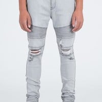 Moto Skinny Fit Drop Crotch Gray Denim Jeans