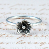 Flower stacking ring, sterling silver stack ring, stackable, handmade