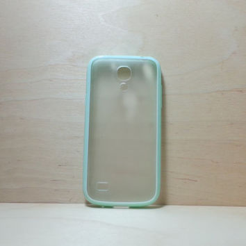 Samsung Galaxy S4 (Mini) Case Silicone Bumper and Translucent Frosted Hard Plastic Back - Mint Green