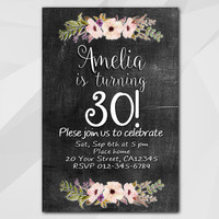 30th Birthday invitation, Watercolor Chalkboard Invitation, 1st 2nd 13th 18th 21st 30th 40th 50th, Custom invitation XA022c