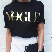 Brand T Shirt Women VOGUE Printed T-shirt Women Tops Tee Shirt Femme New Arrivals Hot Sale Casual Sakura