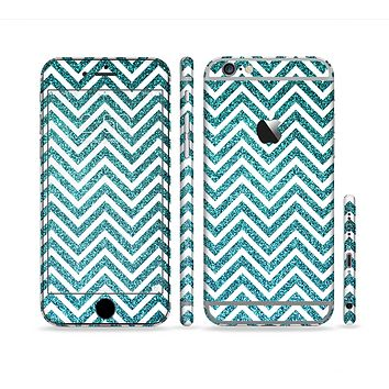The Teal & White  Sharp Glitter Print Chevron Sectioned Skin Series for the Apple iPhone 6