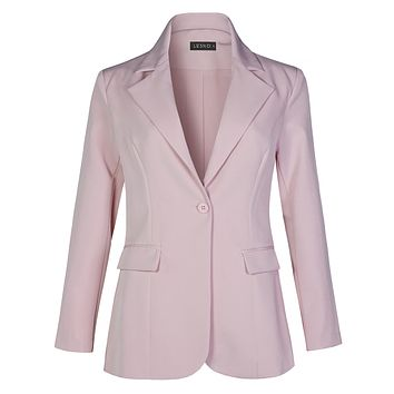 LE3NO Womens Work Office Long Sleeve Single Button Blazer Jacket With Pockets