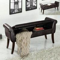 Reyna espresso faux leather upholstered bedroom storage bench