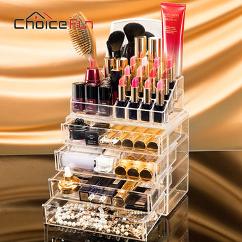 CHOICE FUN 4 Drawers Acrylic Makeup Organizer Lipstick Nail Polish Clear Plastic Cosmetic Storage Box With Mirror SF-1029M-4