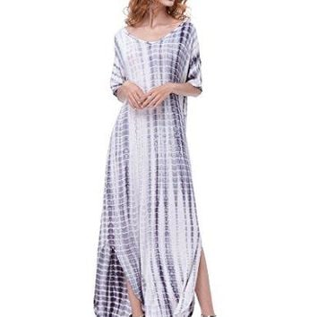Kate Kasin Womenrsquos Casual Loose Long Dress Short Sleeve Split Maxi Dress