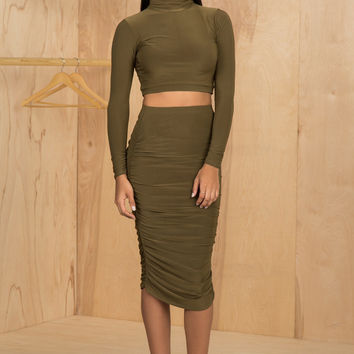 Kimmy Two Piece Set (Olive)- Final Sale