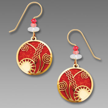 Scarlet Red Disc with Gold Plated 'Celestial' Overlay