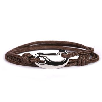 Brown + Silver Tactical Cord Men's Bracelet