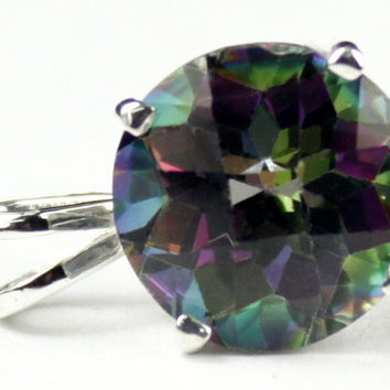 SP088, 12 ct Mystic Fire Topaz, 925 Sterling Silver Pendant