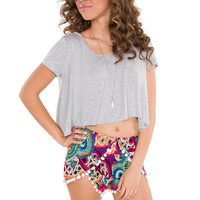 Trina Basic Crop Top - Grey