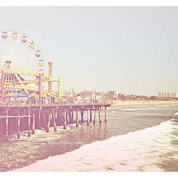 Santa Monica Pier Photography Los Angeles Beach summer surf 4x6 Fine Art Print ocean seaside California boardwalk