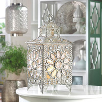 Crown Jewels Silver Filigree Dazzle Enchanting Table Candle Holder Lantern