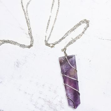 Amethyst Pendant Wire Wrapped Necklace