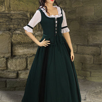 Medieval Costume Gown Country Natural Cotton handmade Maiden Gown Renaissance Clothing  Multiple Colors Available