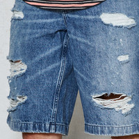 PacSun Straight Destroyed Medium Denim Shorts at PacSun.com