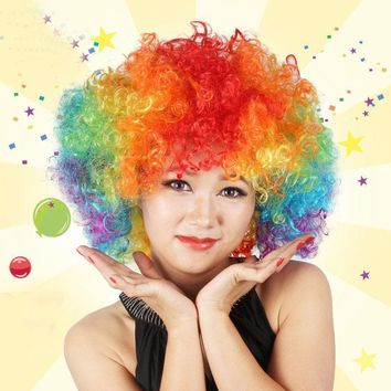 Halloween Carnival Party Costume Props Multi Color Circus Clown Head Piece Cosplay Fluffy Headwear Curls Crimps for Men Women