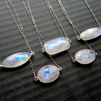 Moonstone Necklace Moonstone Connector Sterling Silver Bezel Silver Moonstone Jewelry Horizontal Moonstone Gemstone Necklace Stone Necklace