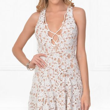 Indie XO Not Done With You White Lace Sleeveless Plunge V Neck Tie Front Skater Circle A Line Flare Mini Dress