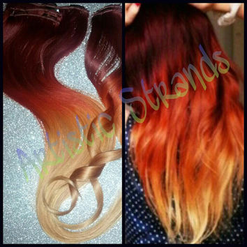 18  Inches Long F U L L Thick Set// T R I tone -Red/Copper/Light Copper Blonde Ombre Effect- Clip - HOT
