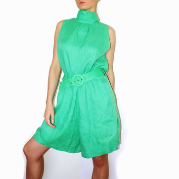 Green Spring Summer jumpsuit One Piece suit Green overall shorts Jumper Vintage Overalls
